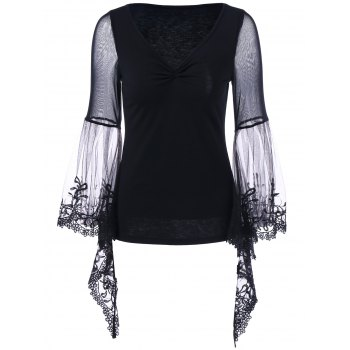Flare Sleeve Sheer Lace Trim T-Shirt
