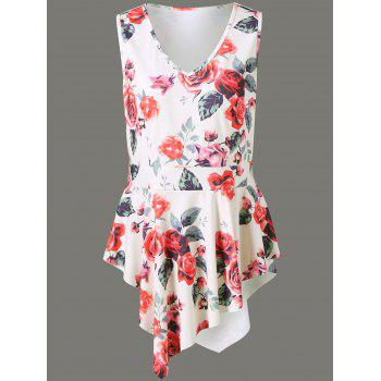 Plus Size Floral Asymmetrical Sleeveless Blouse
