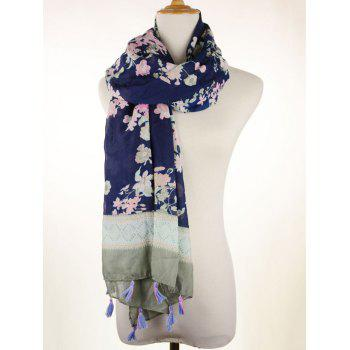 Tassel Pendant Scarf with Floral Printed