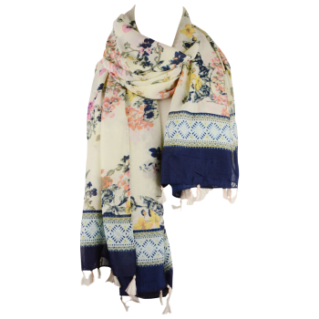 Tassel Scarf with Floral Printed