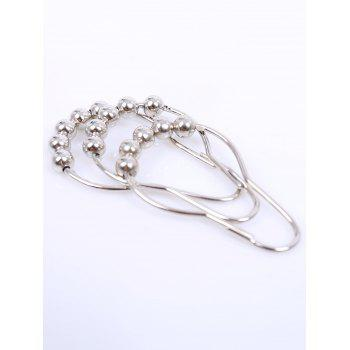12Pcs Stainless Steel Beads Designs Shower Hooks - SILVER