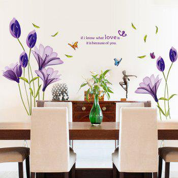 Romantic Lily Love Proverb Wall Stickers - PURPLE 50*70CM