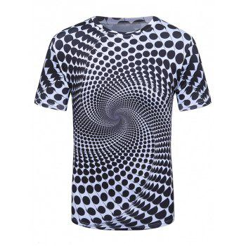 Short Sleeve 3D Spiral Polka Dot Trippy T-Shirt