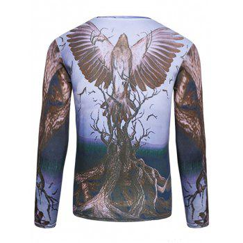Long Sleeve 3D Bird and Tree Print T-Shirt - COLORMIX M