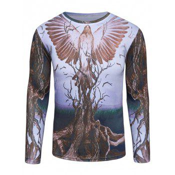 Long Sleeve 3D Bird and Tree Print T-Shirt
