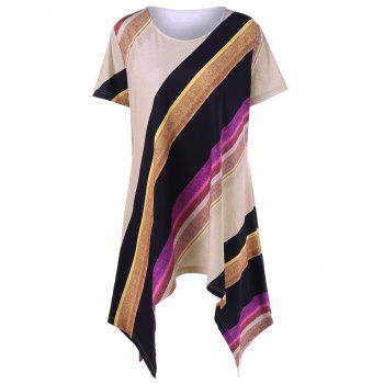 Asymmetric Hem Striped Plus Size Top