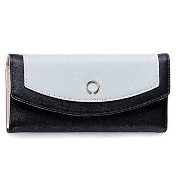 Color Blocking Flap Clutch Wallet