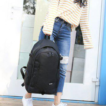 Casual Side Pockets Nylon Backpack -  BLACK