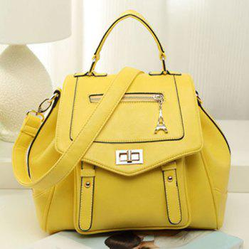 Faux Leather Multi Way Backpack - YELLOW YELLOW