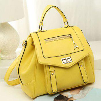 Faux Leather Multi Way Backpack -  YELLOW