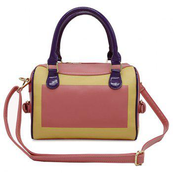 Color Blocking Faux Leather Handbag - WATERMELON RED WATERMELON RED