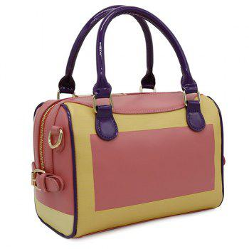 Color Blocking Faux Leather Handbag -  WATERMELON RED