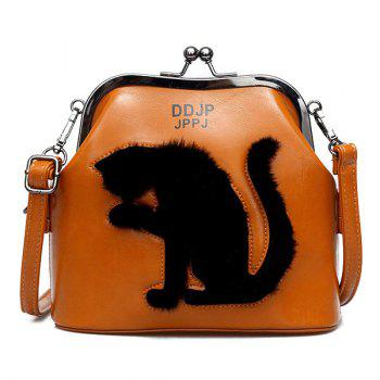 Cat Pattern Kiss Lock Crossbody Bag