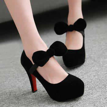 Bow Velvet Platform Pumps