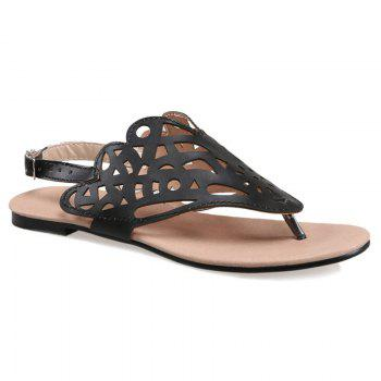 Faux Leather Hollow Out Sandals