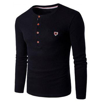 Long Sleeve Buttons Design Knit Blends T-Shirt