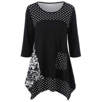 Single Pocket Polka Dot and Floral T-Shirt