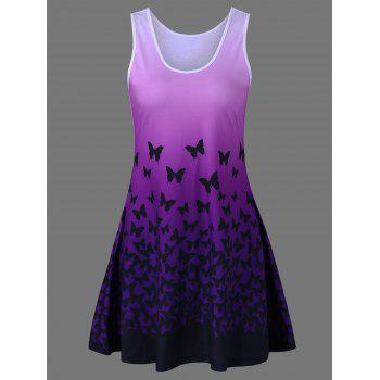 Butterfly Print Ombre Casual A Line Tank Dress