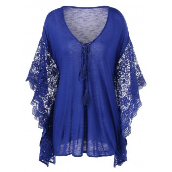 Plus Size manches papillon bordures en crochet Blouse
