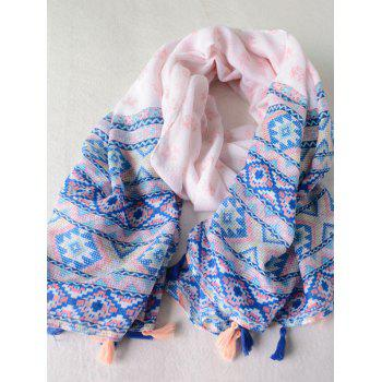 Indian Elephants Geometry Print Tassels Pendant Pashmina Scarf
