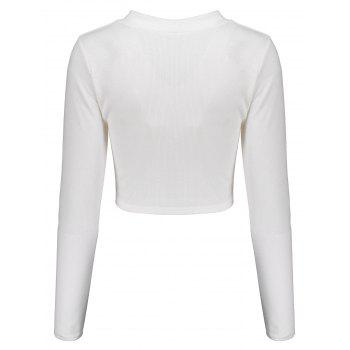 Lace Up Long Sleeves Crop Top - WHITE WHITE