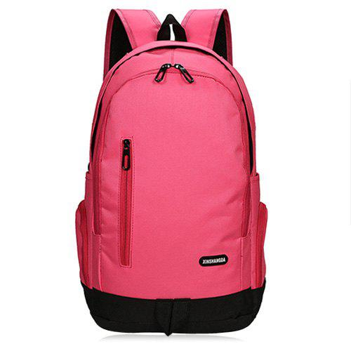 Casual Side Pockets Nylon Backpack - PLUM