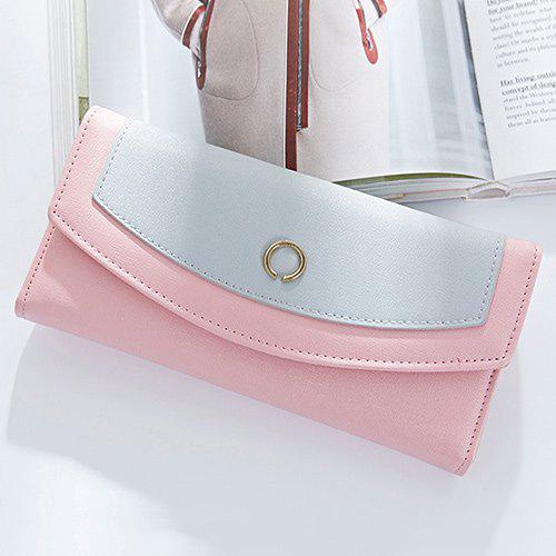 Color Blocking Flap Clutch Wallet - PINK
