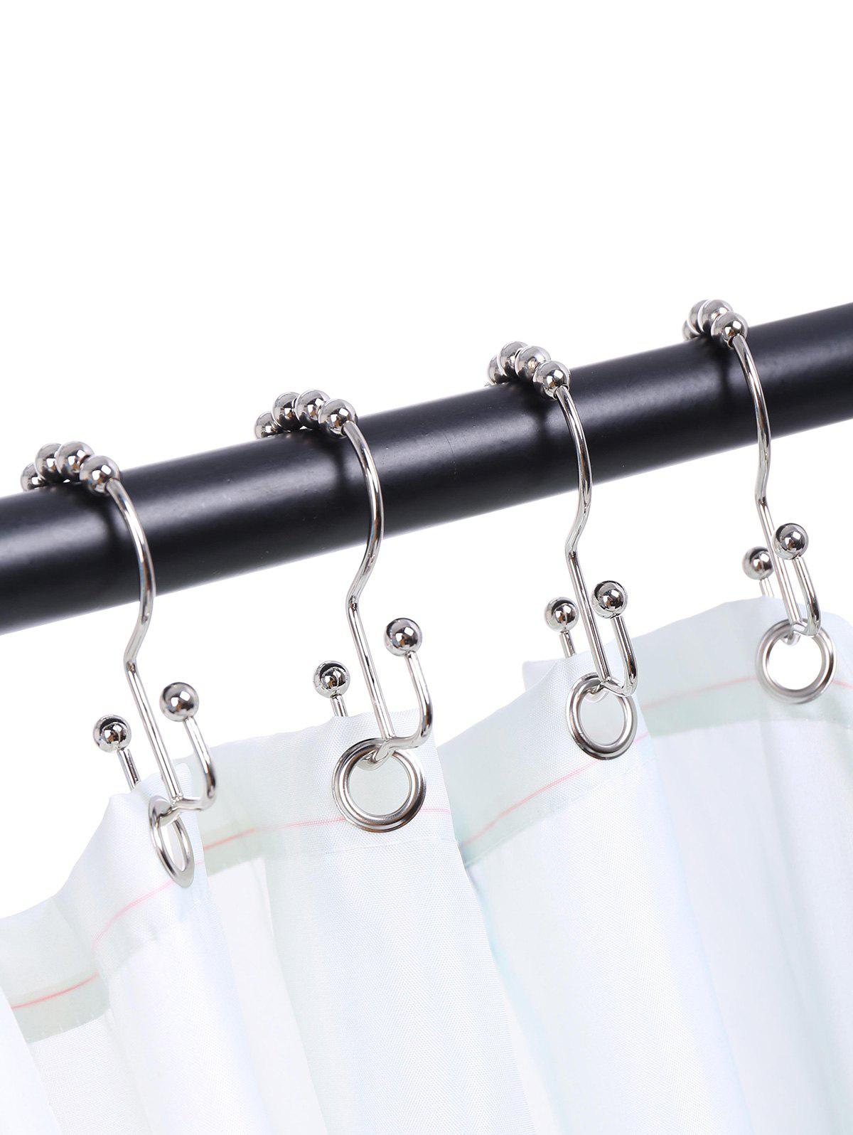 Stainless Steel Beads Two Sides Shower Hooks 12pcs - SILVER