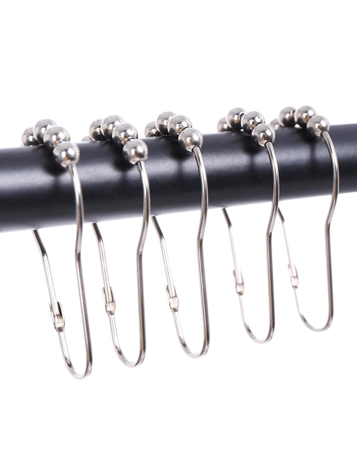 12Pcs Nickel Steel Beads Shower Curtain Hooks - SILVER