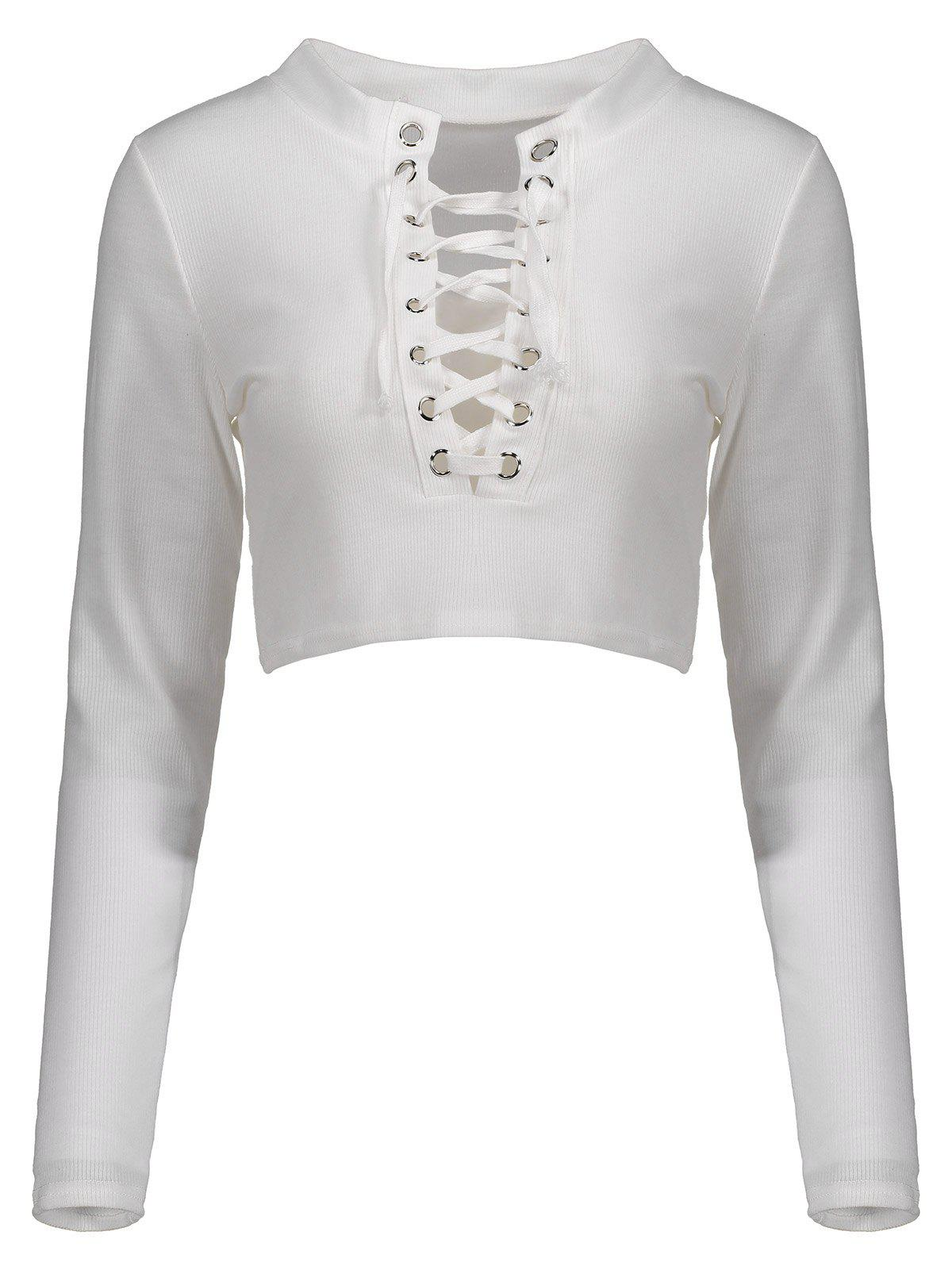 Lace Up Long Sleeves Crop Top - WHITE S
