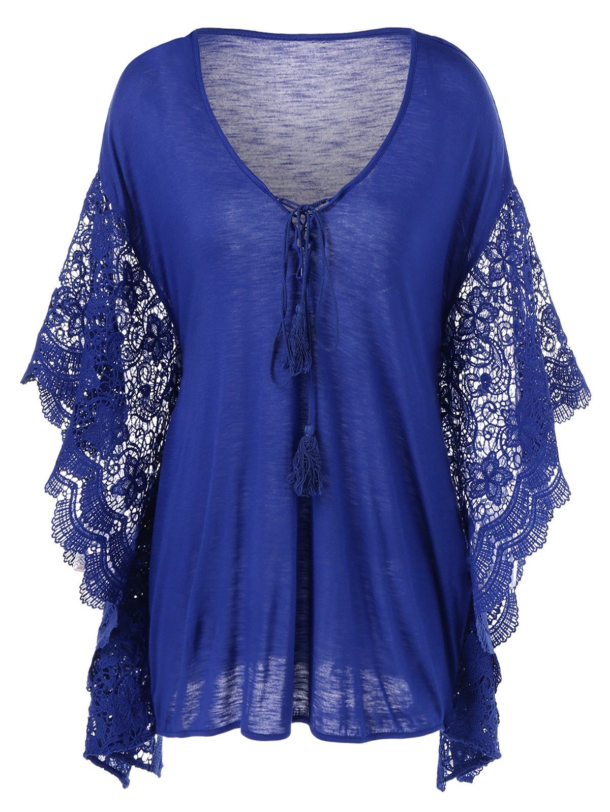 Plus Size Butterfly Sleeve Crochet Trim Blouse Lace Tops - BLUE XL