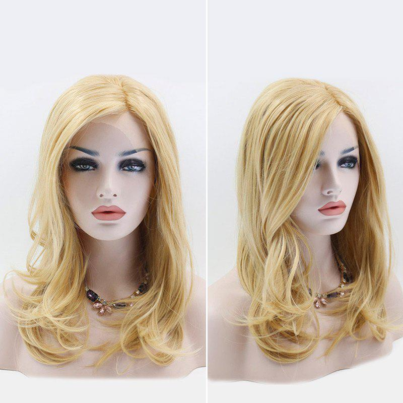 Long Side Part Slightly Curled Synthetic Lace Front Wig - LIGHT GOLD 22INCH