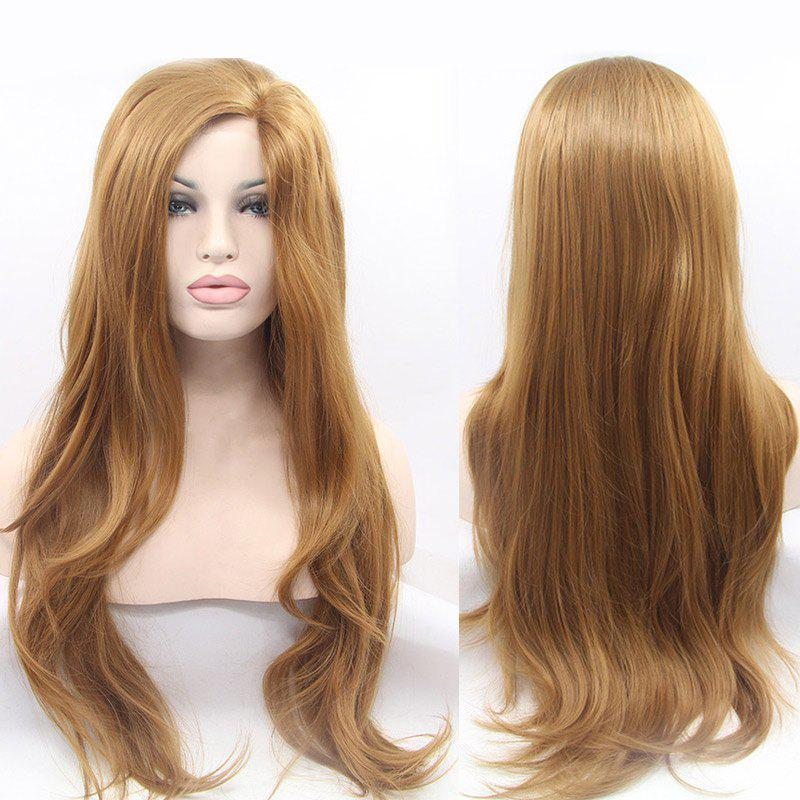 Gorgeous Long Slightly Curled Synthetic Lace Front Wig - GOLDEN 28INCH