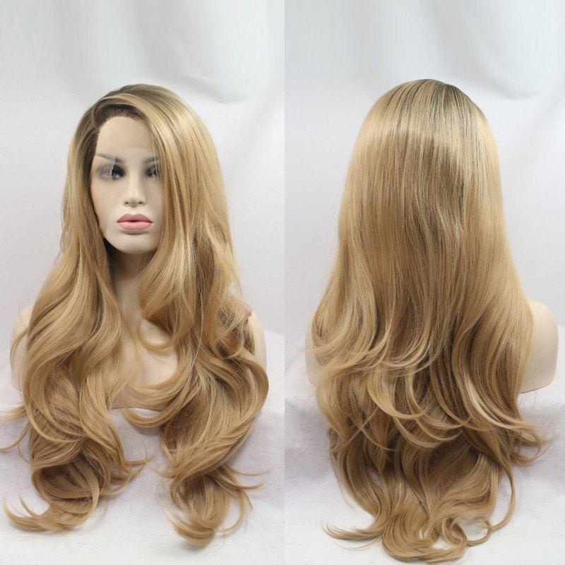 Long Side Part Wavy Synthetic Lace Front Wig - COLORMIX 28INCH