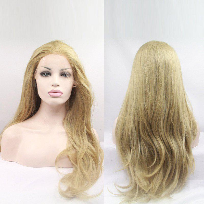 Long Slightly Curled Synthetic Lace Front Wig - GOLDEN 30INCH