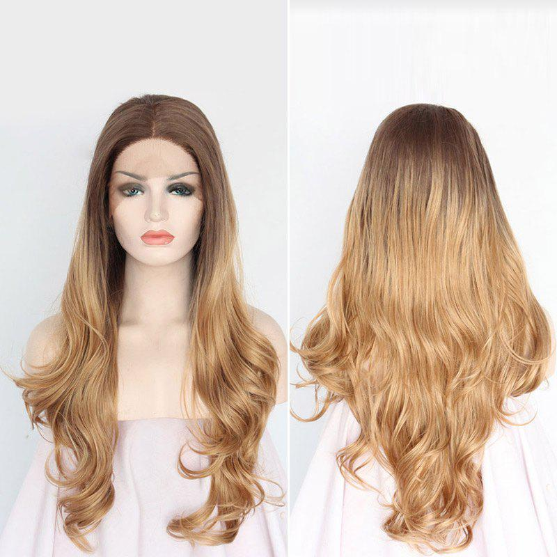 Long Middle Part Wavy Synthetic Lace Front Wig - COLORMIX 30INCH
