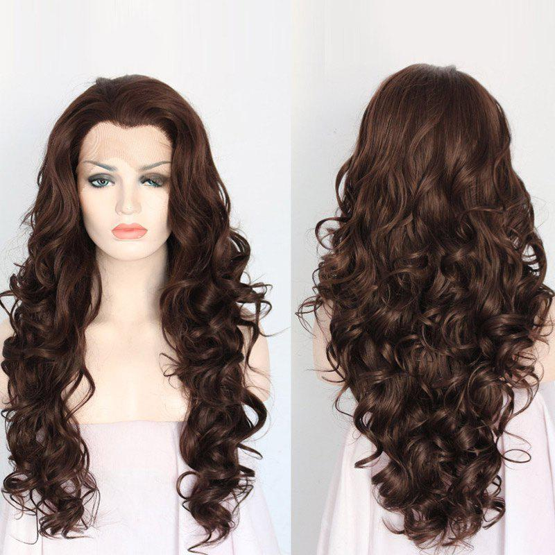 Long Stunning Curly Lace Front Synthetic Hair Wig - BROWN 30INCH