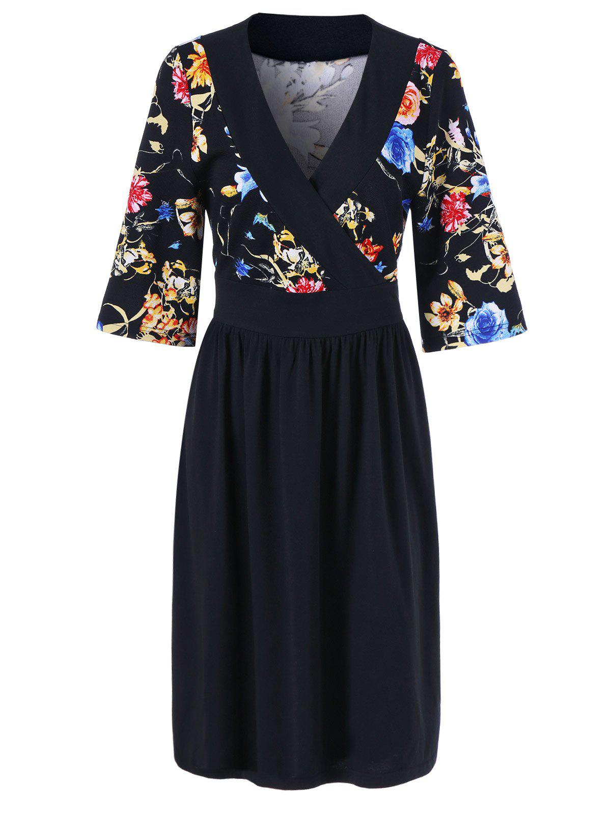 Plus Size Floral Surplice Dress - Noir XL