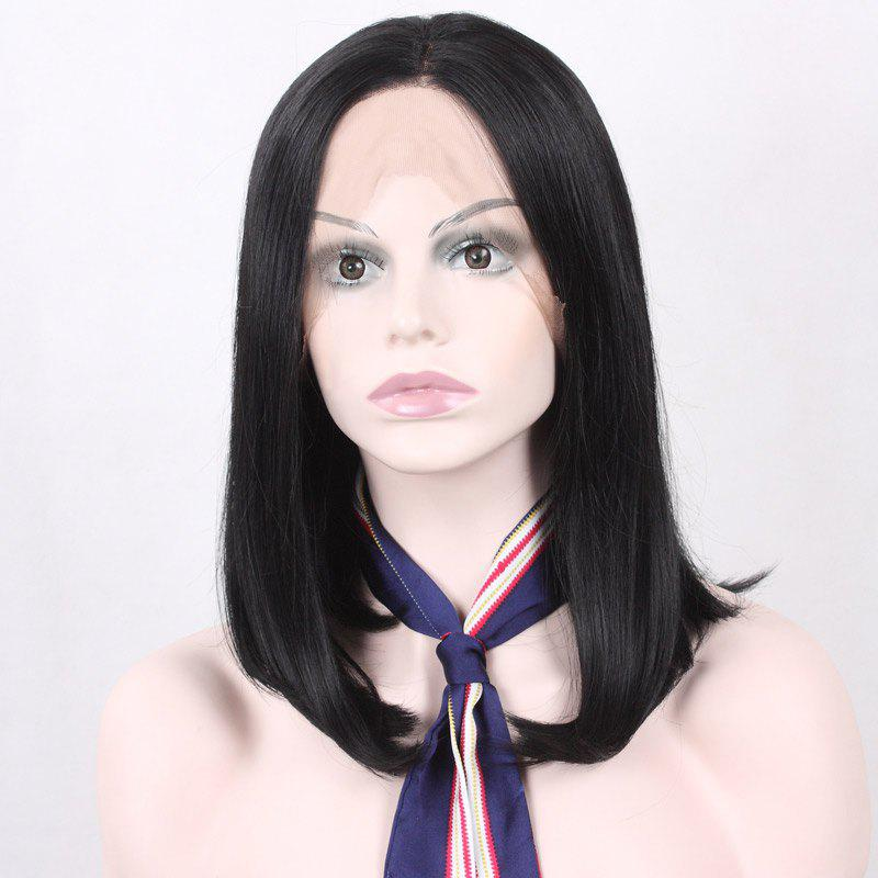 Medium Centre Parting Tail Adduction Synthetic Lace Front Hair Wig - BLACK 14INCH