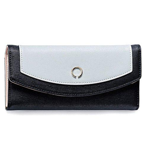 Color Blocking Flap Clutch Wallet - BLACK
