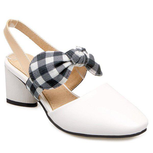 Chunky Heel Bowknot Pumps - WHITE 37