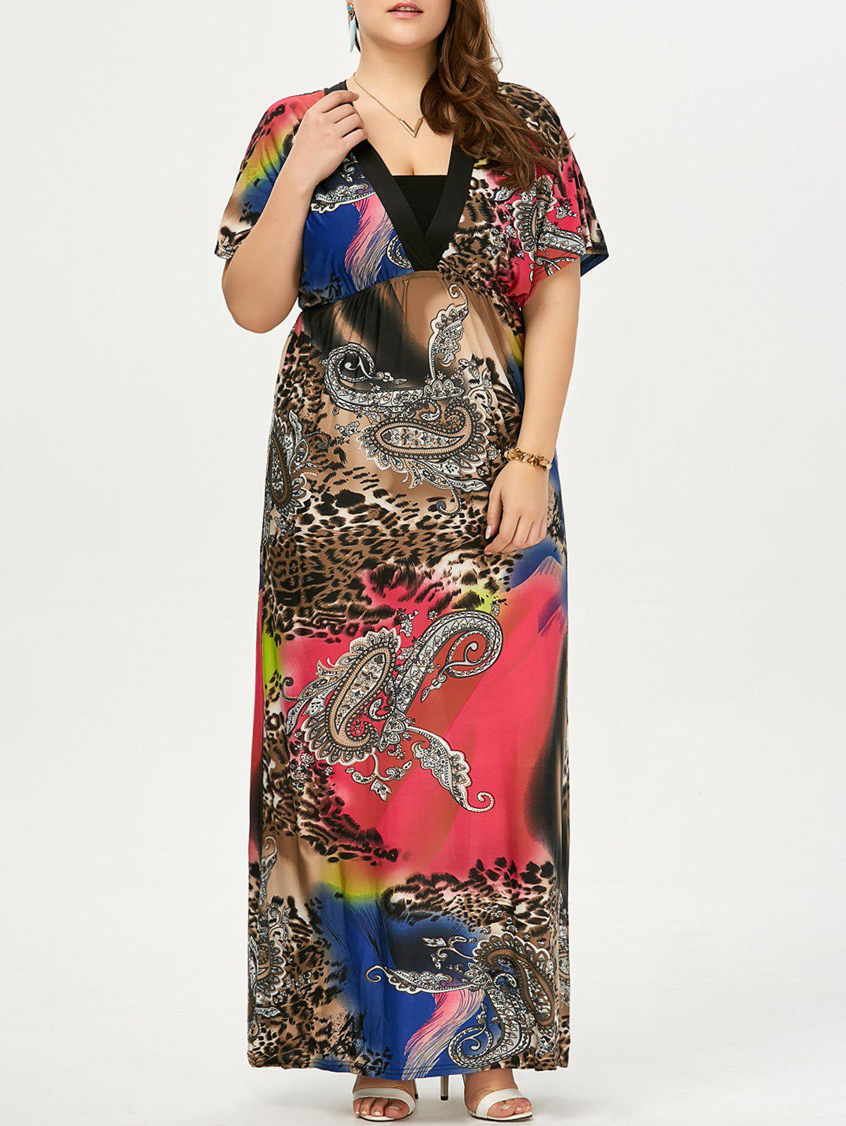 Plus Size Leopard Imprimé Maxi Dress - Noir 5XL