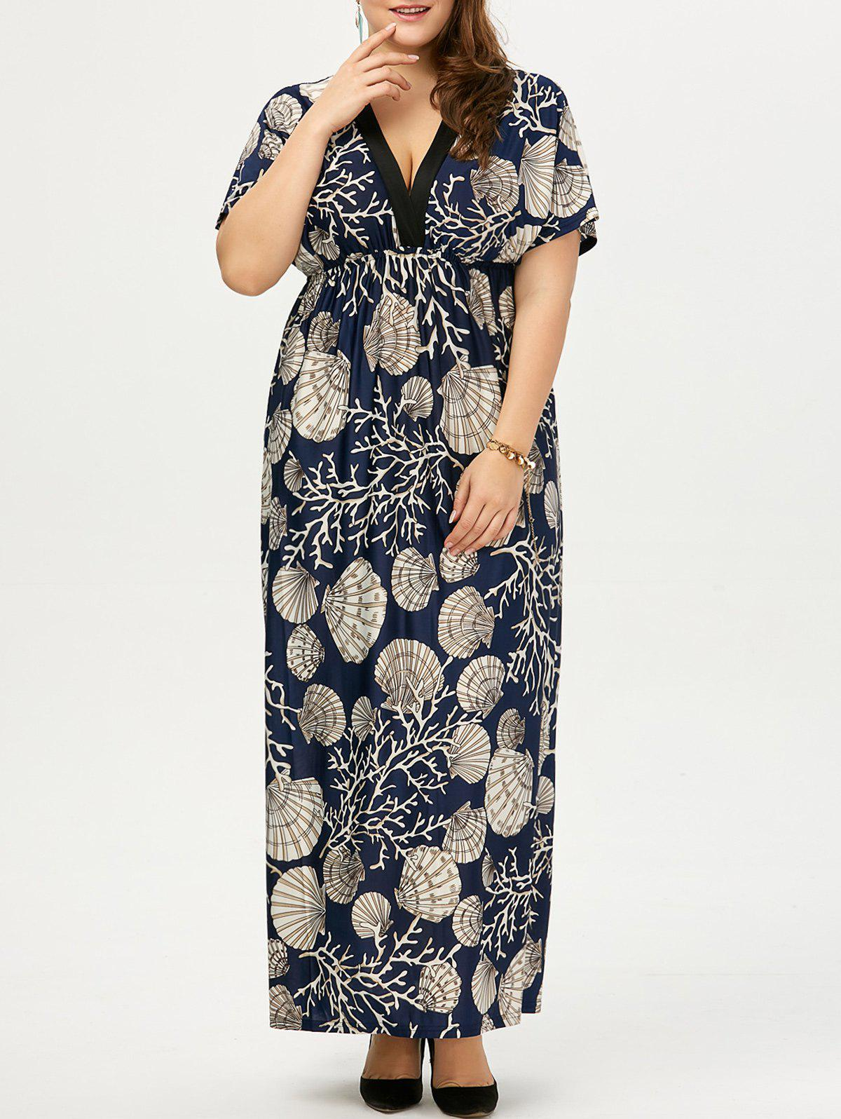 Plus Size Drawstring Dress Floral Maxi - Bleu Violet 5XL