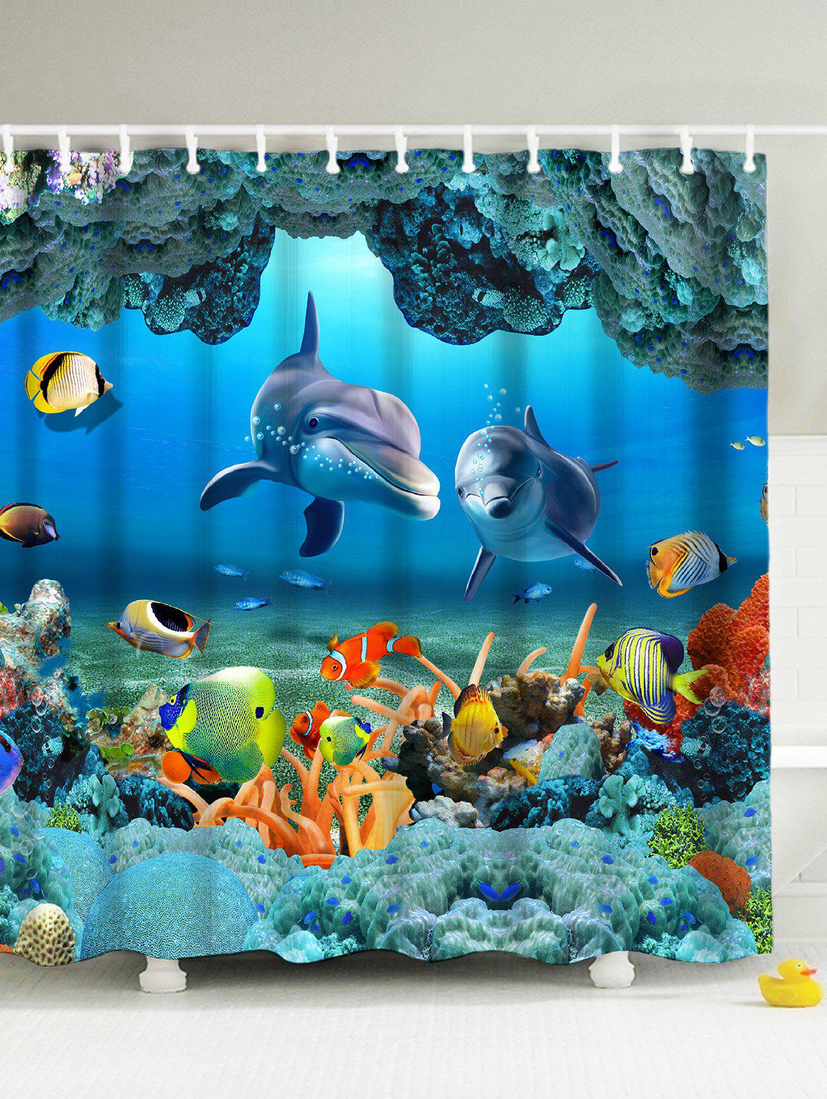 3D Print Underwater World Fish Shower Curtain - BLUE 150*180CM