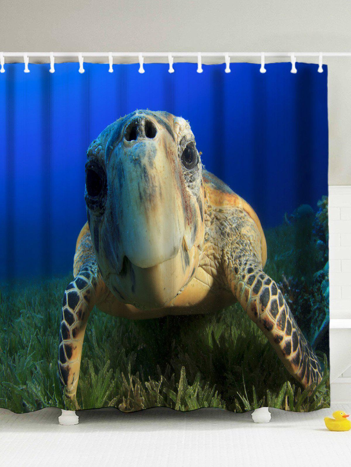 Superb 3D Print Sea Turtle Shower Curtain With Hooks   DEEP BLUE 180*200CM