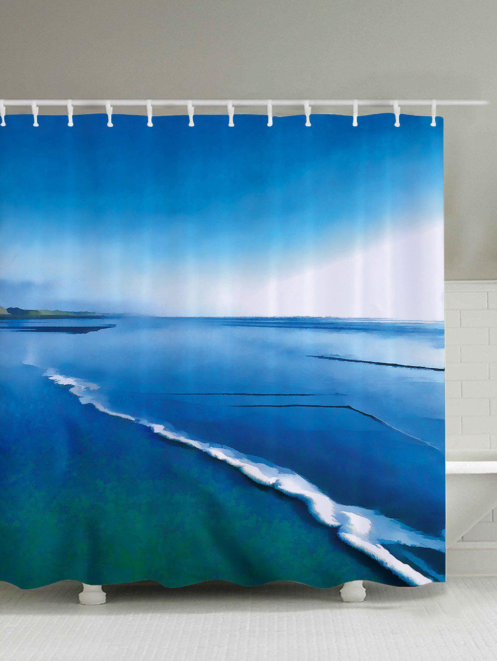 Water Resistant Sea Print Polyester Fabric Shower Curtain