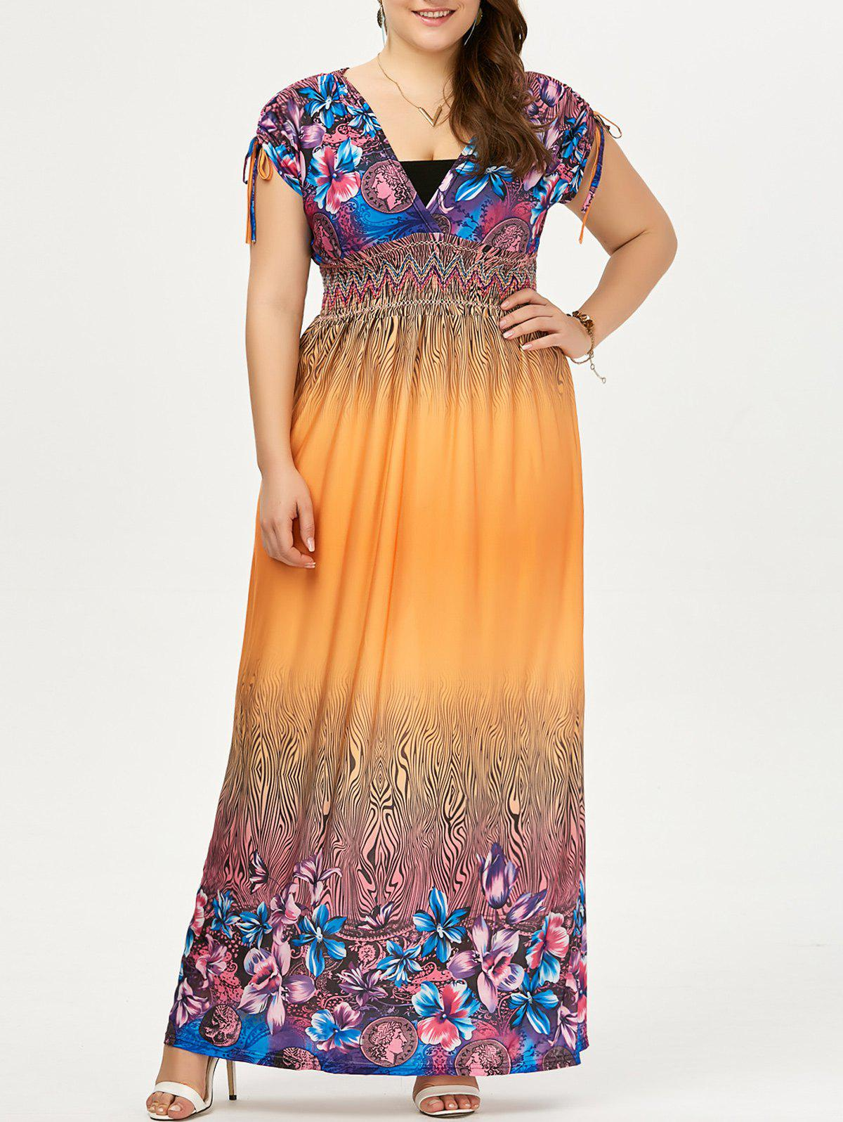 Plus Size Ombre Imprimé Maxi Boho Dress - Orange 3XL