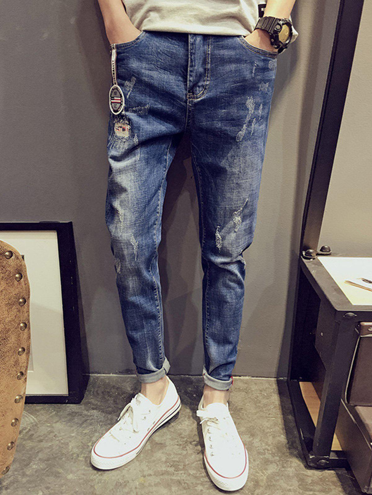 Distress Patches Cuffed Jeans