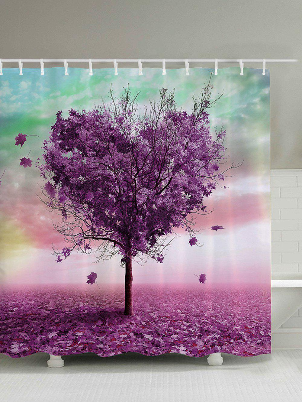 Heart Shaped Tree Waterproof Fabric Bath Curtain - VIOLET 150*180CM
