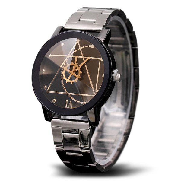 Gear Geometric Quartz Watch with Steel Band - BLACK